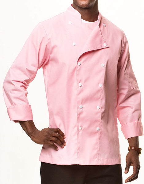 Traditional Chef Jacket - Pink - Straight Collar