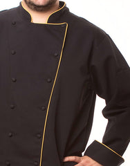Elegance Chef Jacket - Black - Gold Piping - Straight Collar