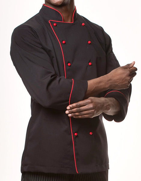 Elegance Chef Jacket - Black - Red Piping - Straight Collar