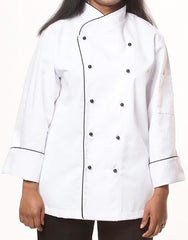 Elegance Chef Jacket - White - Black Piping - Rounded Collar