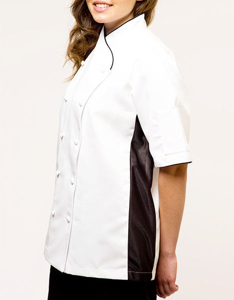Keep Cool Chef Jacket - White - Black Mesh & Piping - Rounded Collar