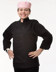 Kids Traditional Chef Jacket - Black - Straight Collar