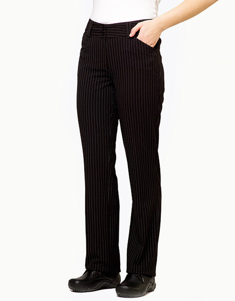 Women's Dress Pants - Black Pinstripe