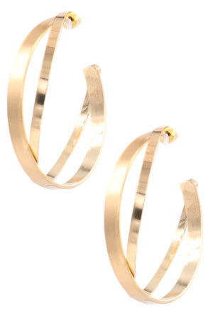 ZJE- Flat Cross Hoop Earrings