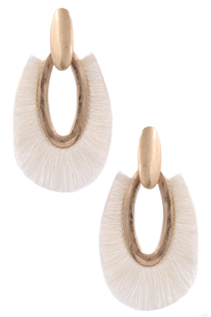 ZJE- Hammered Metal Oval Cotton Fringe Earrings