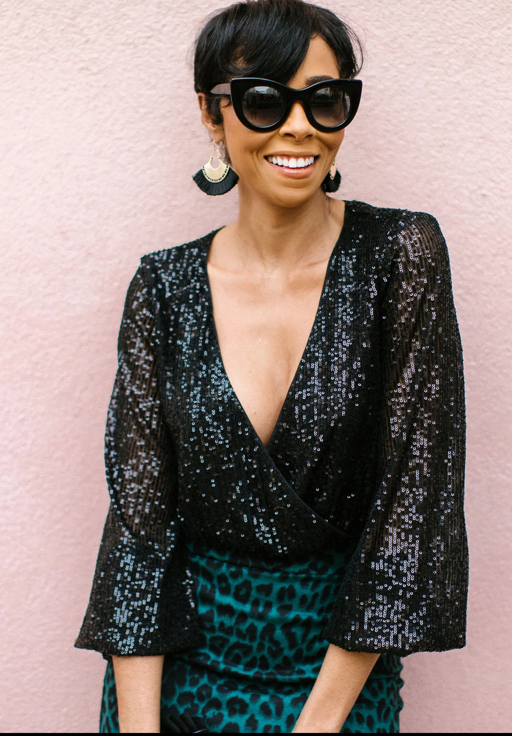 Deep V-Neck Sequin Top