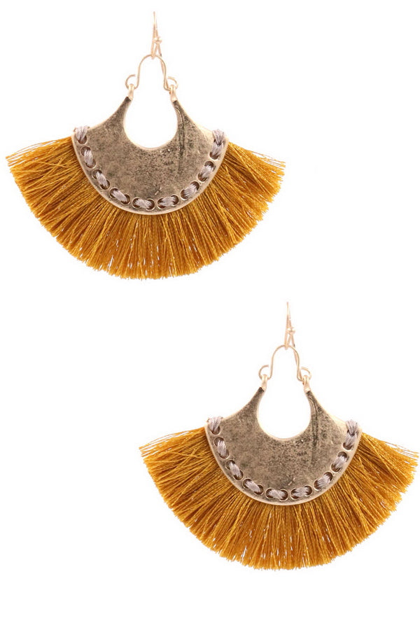ZJE- Metal Hammered Metal Tassel Drop Earring