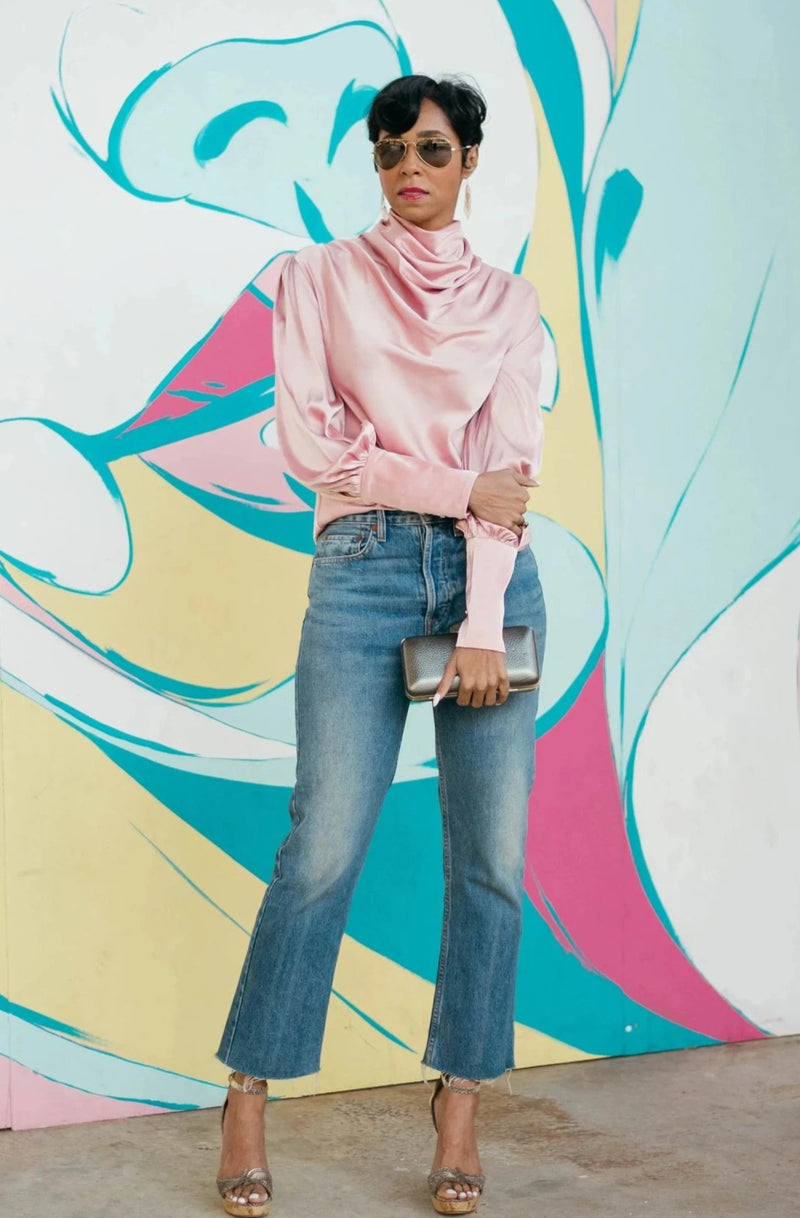 Mock Cowl Neck Satin Blouse