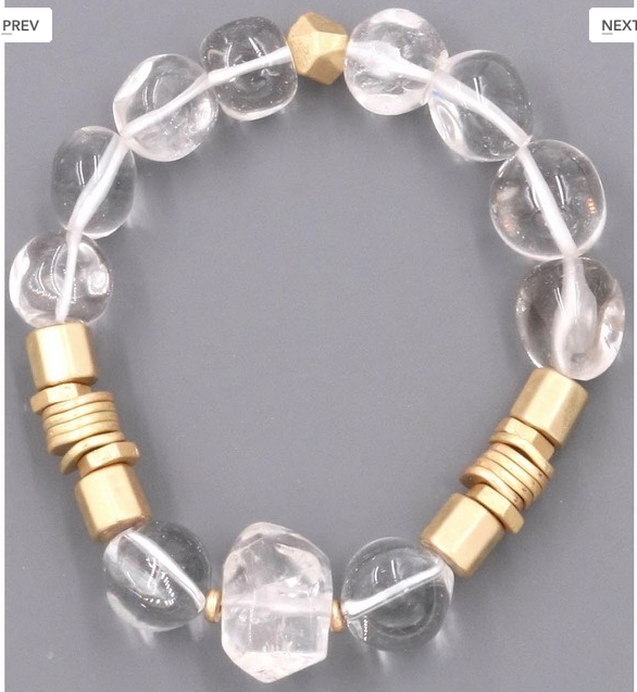 ZJL- The Madynn (stone and metal single bead stretch bracelet)
