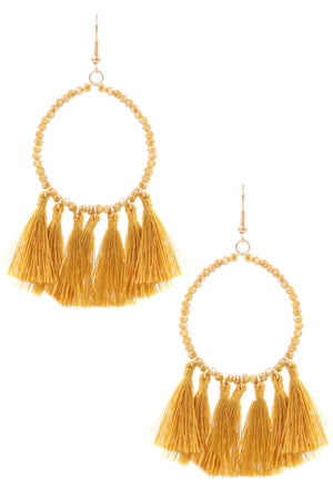 ZJE - Glass Bead Hoop Tassel Earrings