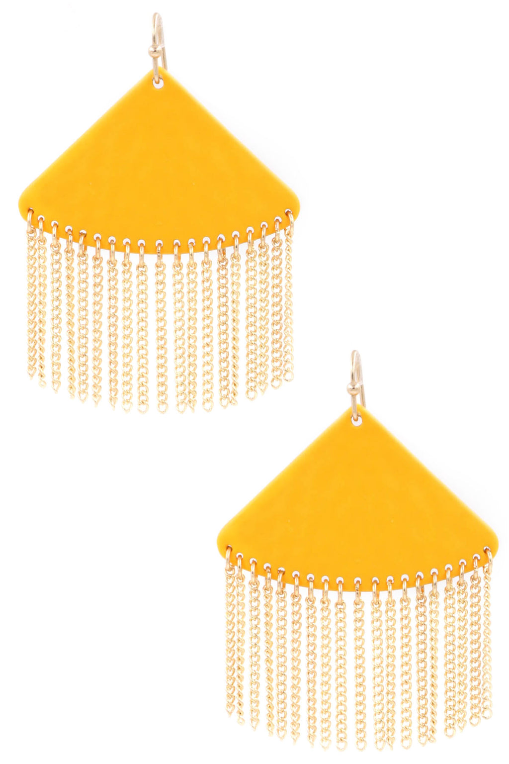 ZJE- Triangle Tassel Chain Earrings