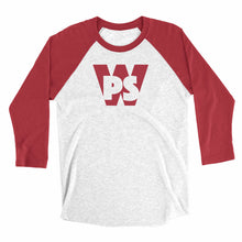 Load image into Gallery viewer, Eco-friendly, hand-printed custom super soft raglan that's super soft to the touch and features a WPS Woo Pig Sooie Arkansas Razorbacks Football graphic design