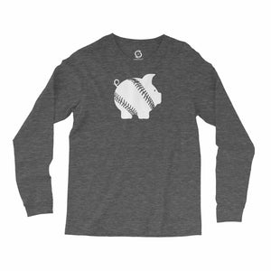 Eco-friendly, hand-printed, custom long sleeve t-shirt that's super soft to the touch and features a piggy ball Arkansas Razorbacks graphic design
