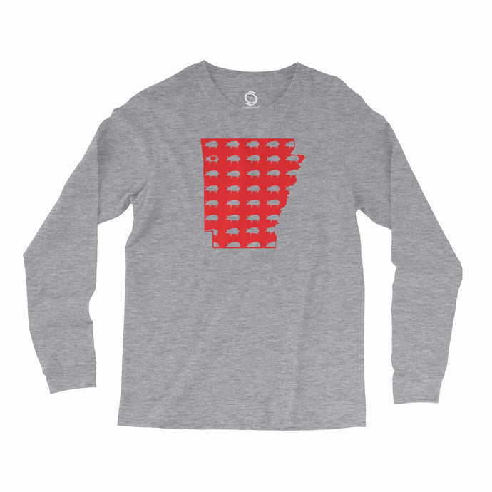 Eco-friendly, hand-printed, custom long sleeve t-shirt that's super soft to the touch and features a Arkansas Razorbacks Pig graphic design