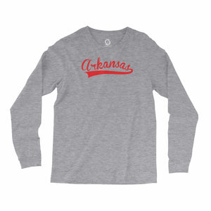 Eco-friendly, hand-printed, custom long sleeve t-shirt that's super soft to the touch and features an Arkansas stitch graphic design