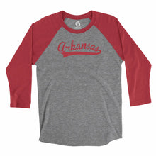 Load image into Gallery viewer, Eco-friendly, hand-printed, custom long sleeve t-shirt that's super soft to the touch and features an Arkansas stitch graphic design