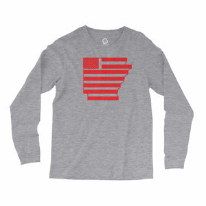Eco-friendly, hand-printed, custom long sleeve t-shirt that's super soft to the touch and features a Arkansas USA graphic design