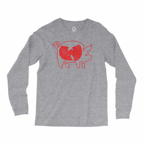 Eco-friendly, hand-printed, custom long sleeve t-shirt that's super soft to the touch and features a Woo Pig Arkansas Razorbacks football graphic design