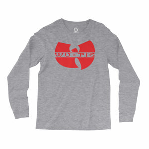 Eco-friendly, hand-printed, custom long sleeve t-shirt that's super soft to the touch and features a Wu Tang Woo Pig Arkansas Razorbacks football graphic design