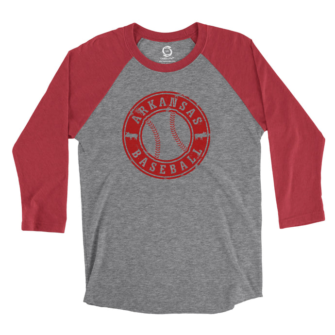 Eco-friendly, hand-printed custom super soft t-shirt that's super soft to the touch and features a Arkansas Razorbacks Baseball graphic design