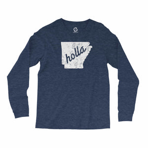 Eco-friendly, hand-printed, custom long sleeve t-shirt that's super soft to the touch and features a Holla Arkansas graphic design