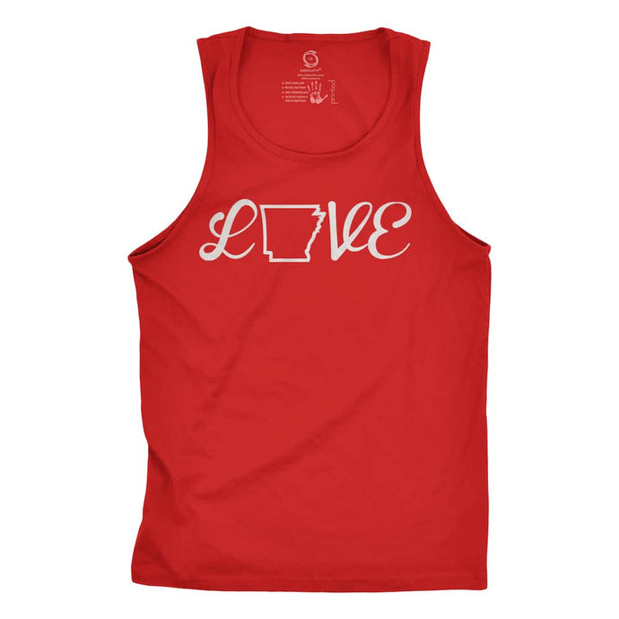 Eco-friendly, hand-printed custom racer back tank that's super soft to the touch and features a love Arkansas graphic design
