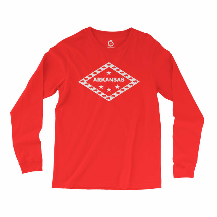 Eco-friendly, hand-printed, custom long sleeve t-shirt that's super soft to the touch and features an Arkansas state flag graphic design