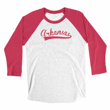 Load image into Gallery viewer, Eco-friendly, hand-printed, custom raglan t-shirt that's super soft to the touch and features an Arkansas stitch graphic design