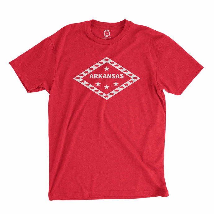 Eco-friendly, hand-printed custom t-shirt that's super soft to the touch and features a Arkansas state flag design