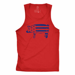 Eco-friendly, hand-printed custom racer back tank that's super soft to the touch and features a freedom pig USA graphic design