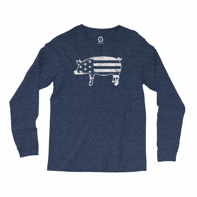 Eco-friendly, hand-printed, custom long sleeve t-shirt that's super soft to the touch and features a freedom pig USA graphic design