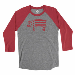 Eco-friendly, hand-printed, custom raglan t-shirt that's super soft to the touch and features a freedom pig USA graphic design