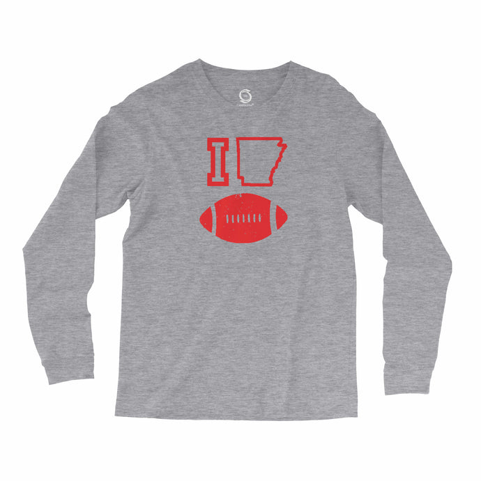 Eco-friendly, hand-printed, custom long sleeve t-shirt that's super soft to the touch and features a I love Arkansas Razorbacks football graphic design