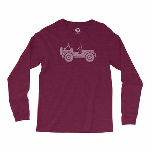 Eco-friendly, hand-printed, custom long sleeve t-shirt that's super soft to the touch and features a Jeep graphic design