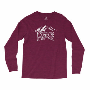 Eco-friendly, hand-printed, custom long sleeve t-shirt that's super soft to the touch and features the mountains are calling John Muir graphic design