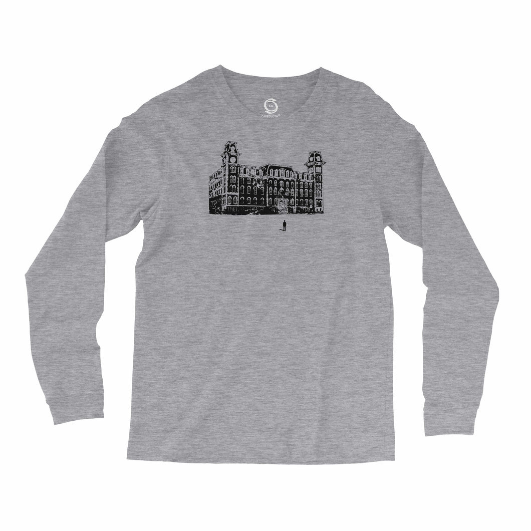 Eco-friendly, hand-printed, custom long sleeve t-shirt that's super soft to the touch and features a Old Main Fayetteville Arkansas Razorbacks football graphic design