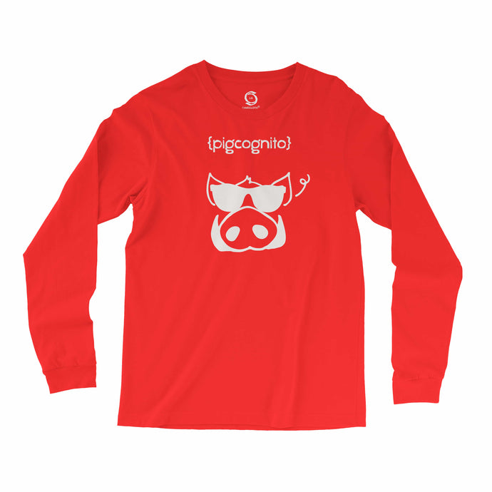 Eco-friendly, hand-printed, custom long sleeve t-shirt that's super soft to the touch and features a Pigcognito Arkansas Razorbacks football graphic design
