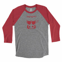Load image into Gallery viewer, Eco-friendly, hand-printed, custom raglan t-shirt that's super soft to the touch and features a Pigcognito Arkansas Razorbacks football graphic design