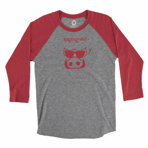 Eco-friendly, hand-printed, custom raglan t-shirt that's super soft to the touch and features a Pigcognito Arkansas Razorbacks football graphic design