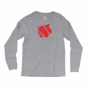 Eco-friendly, hand-printed custom long sleeve t-shirt that's super soft to the touch and features a piggy ball Arkansas Razorbacks graphic design