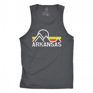 Eco-friendly, hand-printed custom racer back tank that's super soft to the touch and features a retro Arkansas graphic design