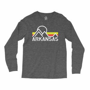 Eco-friendly, hand-printed, custom long sleeve t-shirt that's super soft to the touch and features a Retro Arkansas graphic design