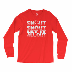 Eco-friendly, hand-printed, custom long sleeve t-shirt that's super soft to the touch and features a Snout Snout Let It All Out Arkansas Razorbacks football graphic design