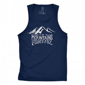 Eco-friendly, hand-printed custom racer back tank that's super soft to the touch and features the mountains are calling John Muir graphic design