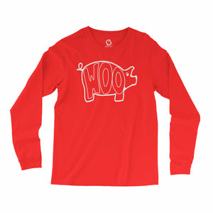 Eco-friendly, hand-printed, custom long sleeve t-shirt that's super soft to the touch and features a WOOO pig Arkansas Razorbacks Football graphic design