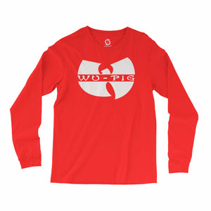 Eco-friendly, hand-printed, custom long sleeve t-shirt that's super soft to the touch and features a Wu Tang pig Arkansas Razorbacks football graphic design