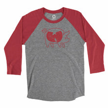 Load image into Gallery viewer, Eco-friendly, hand-printed custom super soft raglan that's super soft to the touch and features a Woo Pig Arkansas Razorbacks football graphic design