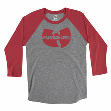 Load image into Gallery viewer, Eco-friendly, hand-printed custom super soft raglan that's super soft to the touch and features a Wu Tang Arkansas Razorbacks football graphic design