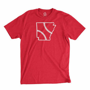 Eco-friendly, hand-printed custom t-shirt that's super soft to the touch and features a Arkansas baseball graphic design