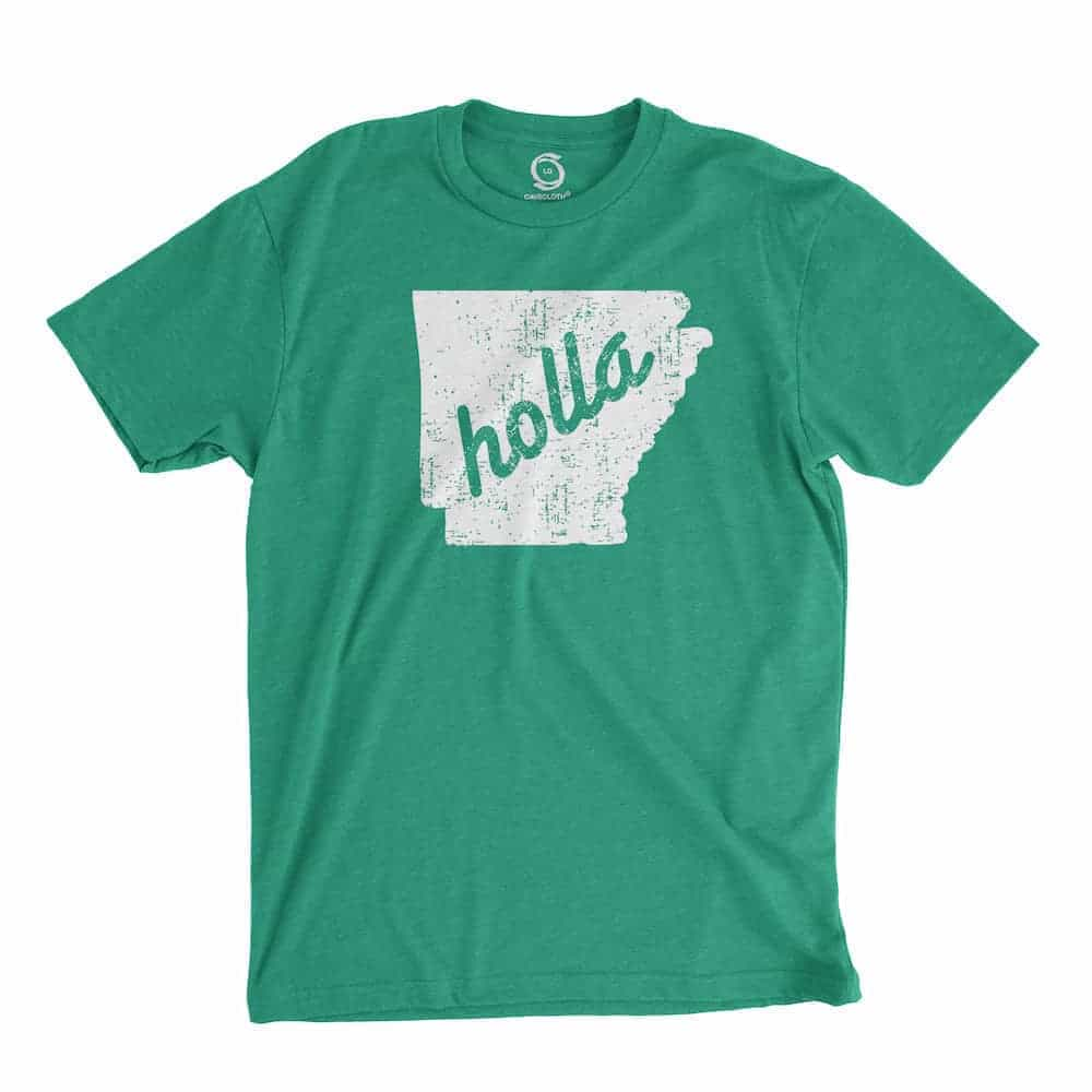 Eco-friendly, hand-printed custom t-shirt that's super soft to the touch and features a Arkansas holly graphic design